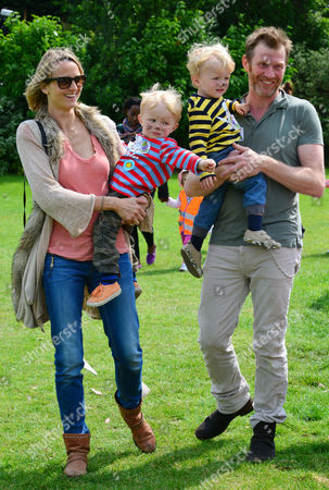 Jason Flemyng, his wife Elly Fairman, twins Noah (in red) and Cassius (in yellow)