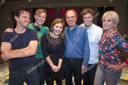 Stock Photo of Andrew Scott (Voice One/Driver), Oliver Bagwell Purefoy (Stage Manager), Emily Vaughan-Barratt (Producer), Alun Armstrong (Voice Three/Controller), Edward Stambollouian (Director) and Joanna Lumley (Voice Two)