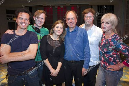 Stock Picture of Andrew Scott (Voice One/Driver), Oliver Bagwell Purefoy (Stage Manager), Emily Vaughan-Barratt (Producer), Alun Armstrong (Voice Three/Controller), Edward Stambollouian (Director) and Joanna Lumley (Voice Two)