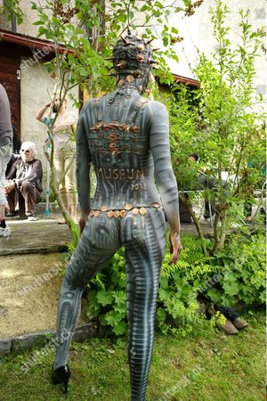 Hans Ruedi Giger celebrates 15 years of his HR Giger Museum with a party including body painting, tattoos, magician.
