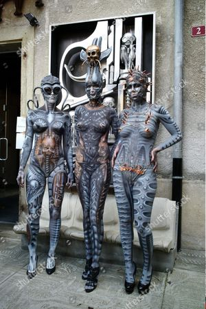 Stock Picture of Hans Ruedi Giger celebrates 15 years of his HR Giger Museum with a party including body painting, tattoos, magician.