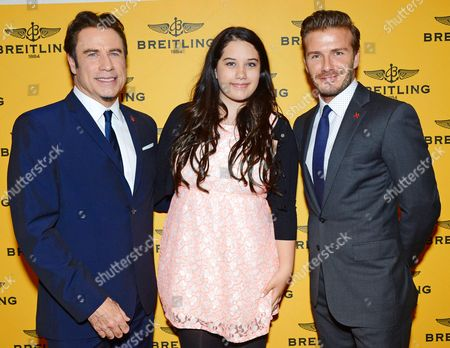 John Travolta, daughter Ella Bleu Travolta and David Beckham