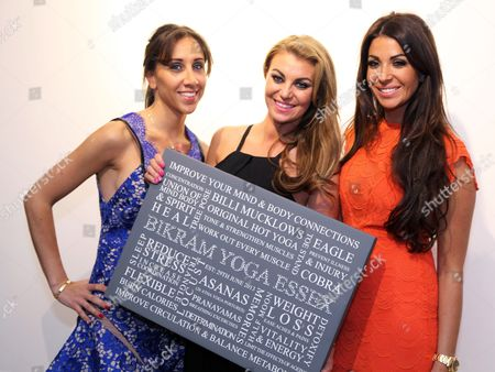 Billi Mucklow receives a gift from friends Cara Kilbey and Tanya Lee