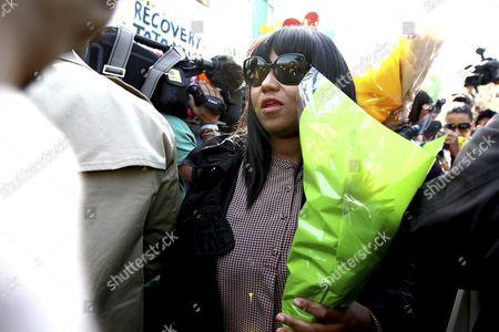 Mandela's granddaughter, Swati Dlamini outside the Pretoria Heart Hospital