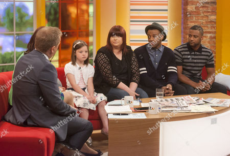 Aled Jones, Lorraine Kelly, Amber and Alison Howe with JLS - Ortise Williams and Jonathan Gill