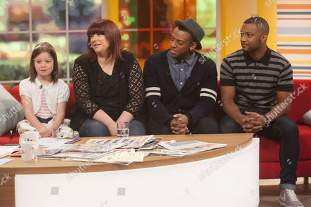Amber and Alison Howe with JLS - Ortise Williams and Jonathan Gill