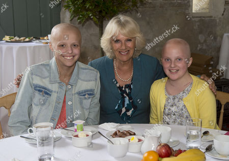 Camilla Duchess of Cornwall with Chloe Evans, 14 and Ffion Jackson, 12