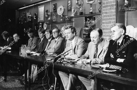 Heads Of Merseyside Football Unite With Assistant Chief Constable Jack Crawford To Stop Football Hooligans. From Left: Phil Neal Bob Paisley Kevin Ratcliffe Kenny Dalglish Howard Kendall Jim Greenwood Bruce Osterman Philip Carter John Smith And Jack Crawford.