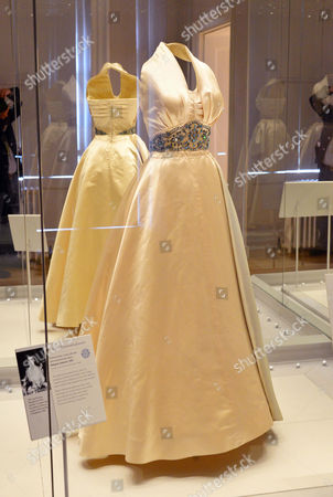 Princess Margaret evening dress, cream silk satin, designer unknown, worn by Princess Margaret at a film premiere in London and at a dinner in Paris as a guest of Prince Paul of Yugoslavia, 1951