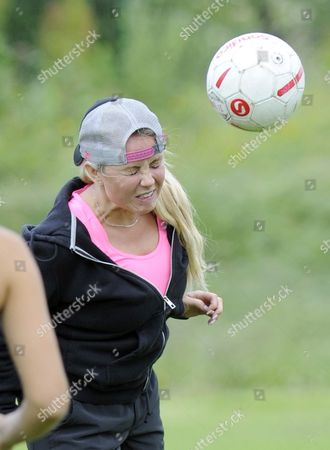 Editorial image of WAGs football practice, Hale, Cheshire, Britain - 03 Jul 2013