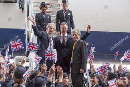 Keith Williams (British Airways CEO), Fabrice Bregier (President of Airbus) and Sir Martin Broughton, Chairman of BA, with British Airways staff