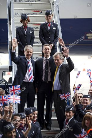 Keith Williams, CEO of British Airways, Fabrice Bregier, President and CEO of Airbus and Sir Martin Broughton, Chairman of British Airways, leave the British Airways AIRBUS A380