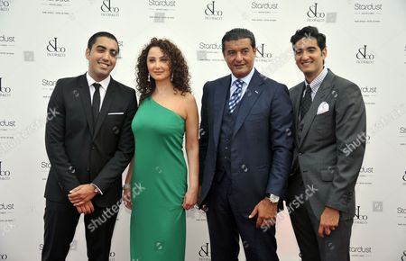 US jeweller and chairman of Jacob & Co, Jacob Arabo (2-R) and members of his family