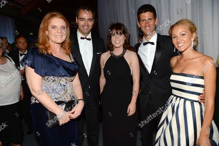 Sarah Ferguson Duchess of York, Milutin Gatsby, Princess Eugenie, Novak Djokovic and Jelena Ristic