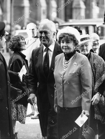Actor Michael Denison With Wife Dulcie Gray At The Memorial Service For Laurence Olivier.