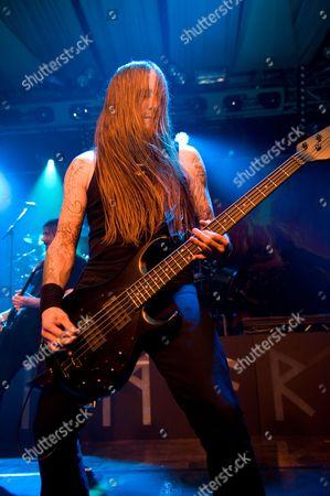 Prestatyn United Kingdom - March 17: Ted Lundstrom Of Swedish Melodic Death Metal Band Amon Amarth Performing Live Onstage At Hammerfest March 17 2012 Prestatyn