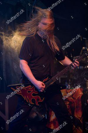 Stock Image of Prestatyn United Kingdom - March 17: Olavi Mikkonen Of Swedish Melodic Death Metal Band Amon Amarth Performing Live Onstage At Hammerfest March 17 2012 Prestatyn