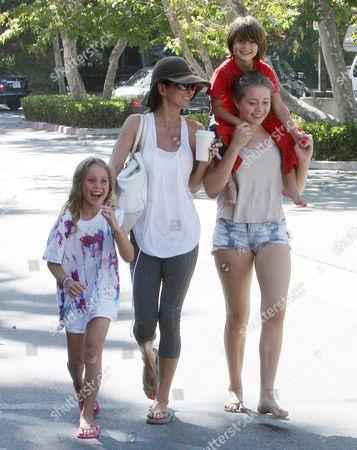 Stock Image of Brooke Burke Charvet, Heaven Rain, Neriah Fisher and son Shaya Braven