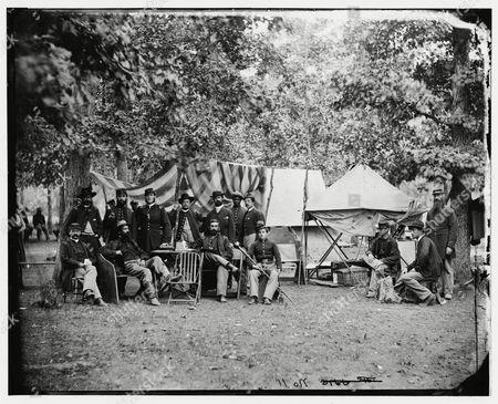 Bealeton, Virginia. Regimental staff 93d New York Infantry. (Morgan Rifles) , August 1863. By Timothy O' Sullivan.