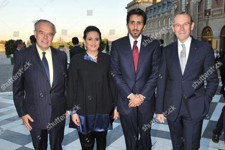 Frederic Mitterrand, French Culture Minister, Al Mayassa Bint Hamad Al-Thani and Jean-Jacques Aillagon, Chateau De Versailles'President