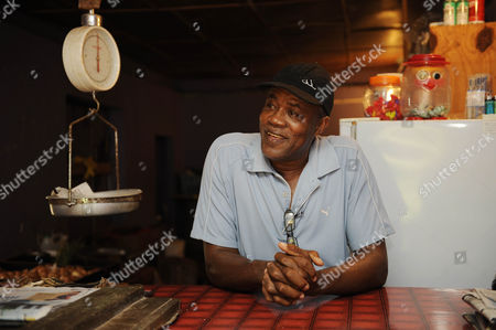 Usain Bolt's Father Gideon Known As Wellesley Bolt At His Butchers Shop. Kingston Jamaica.