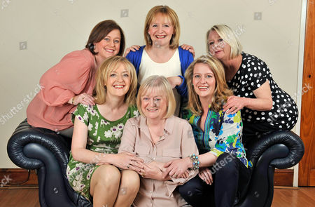 Editorial photo of The Bbc's Winifred Robinson With Her Sisters At Their Fathers Home In The Old Swan District Of Liverpool Merseyside. (l To R Top Row) Gina 48 Ann 56 And Stella Robinson 58. (l To R Front Row) Winifred 54 Mary 59 And Claire Robinson 39.