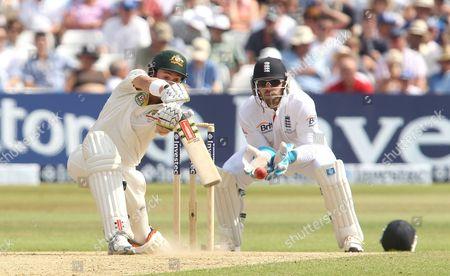 Australia's Ed Cowan edges a Joe Root ball caught by Trott out for 14 runs -England v Australia - 1st Investec Test Match - Ashes Series 2013 - Day 4 - Trent Bridge - Nottingham - 13/07/2013