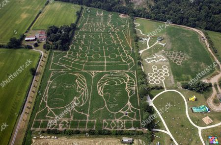 Stock Image of The 18 acres that is the York Maize Maze - featuring the biggest image of a Dalek in the world, plus the first Doctor, William Hartnell, and the present Doctor, Matt Smith