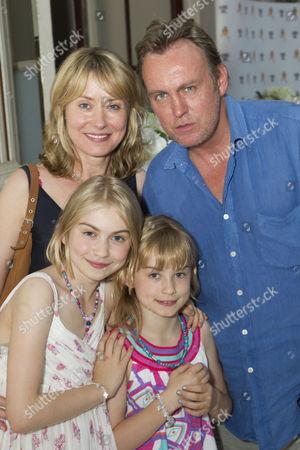 Beth Goddard and Philip Glenister with children Millie Glenister, Charlotte Glenister