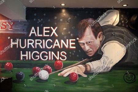 Stock Photo of Alex Higgins mural on a pub wall, Belfast, Northern Ireland, Britain