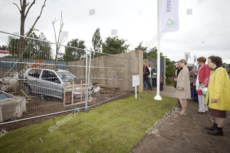 The Duchess Of Wessex Is Shown Round The Urban Oasis Area At The Rhs Hampton Court Flower Show By Designer Chris Beardshaw.