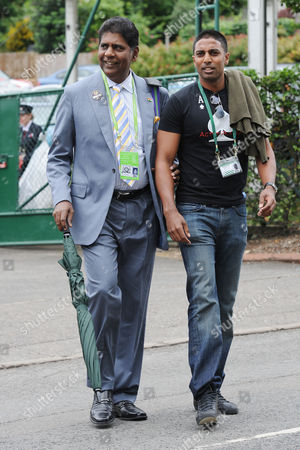 Former Indian Tennis Player Vijay Amritraj (left) Arrives At Wimbledon This Afternoon