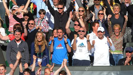 Andy Murray's Entourage Celebrate His Four-set Win. Front Row (l-r): Rob Stewart Kim Sears Andy Ireland Jez Green Danny Vallverdu Judy Murray And Ivan Lendl (seated). Andy Murray V Jo-wilfried Tsonga - The Championships Wimbledon 2012 - Day Eleven.