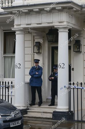 62 Cadogan Place London Sw1 Tonight. (61 On The Left Of Picture Is Believed To Be Owned By The Same Couple And It Makes A Double-fronted Property As Such 61 On The Left Of Picture 62 On The Right) Eva Rausing Wife Of Tetra Pak Heir Hans Kristian Rausing Was Found Dead There Last Night. Pic James Emmett 10.07.12.