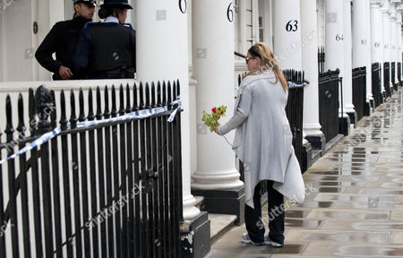Flowers Laid At The Home Of Hans Kristian Rausing Cadogan Place Belgravia London Where The Body Of The Late Eva Rausing Was Found On Monday 05.07.12.