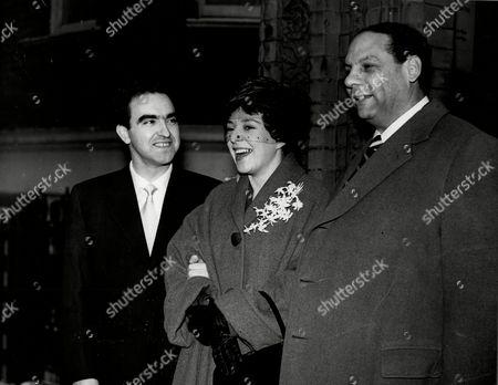 Wedding Of Italian Cabaret Star Serenella To Musician Jose Sanestaban At Kensington Register Office. Best Man (l) Was Bandleader Edmundo Ros.
