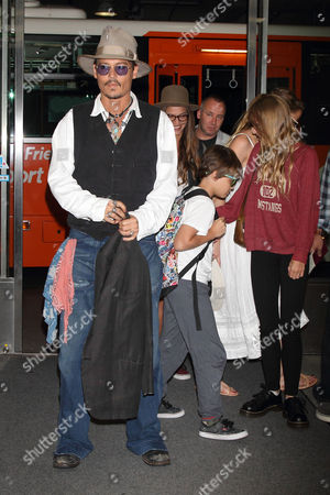 Johnny Depp with children Jack Depp and Lily-Rose Melody Depp