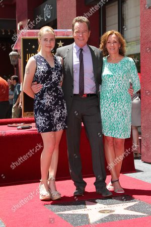 Stock Picture of Bryan Cranston with wife Robin Dearden and daughter Taylor Dearden