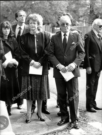 Actor Brian Rix And Wife Elspet (baron And Baroness Rix) At The Funeral Of Roy Kinnear.