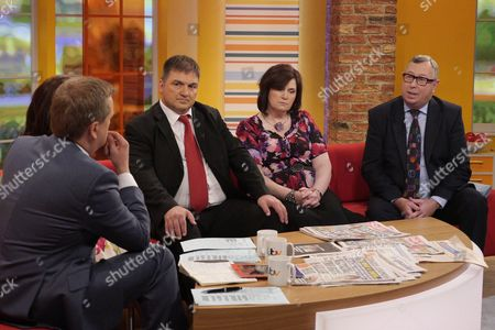Presenters Aled Jones and Lorraine Kelly with Barry George, sister Michelle Diskin and Ian Glen QC