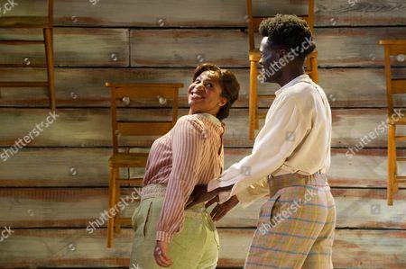 Stock Image of Sophia Nomvete (Sofia) and Adebayo Bolaji (Harpo).