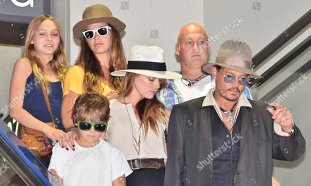 Stock Picture of Johnny Depp, Jack Depp, Lily-Rose Melody Depp and Amber Heard