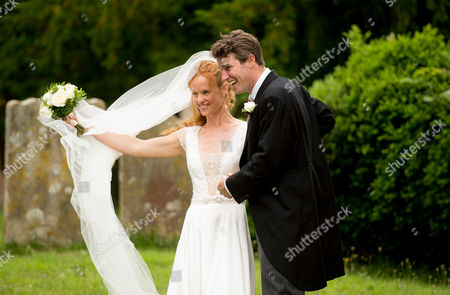 Editorial picture of Alicia Fox-Pitt and Sebastian Stoddart wedding at The Church Of The Holy Cross, Goodnestone, Kent, Britain - 20 Jul 2013