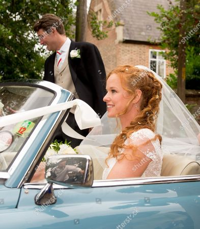 Editorial image of Alicia Fox-Pitt and Sebastian Stoddart wedding at The Church Of The Holy Cross, Goodnestone, Kent, Britain - 20 Jul 2013