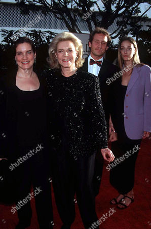 LAUREN BACALL WITH SON SAM ROBARDS, HIS WIFE AND DAUGHTER LESLIE BOGART