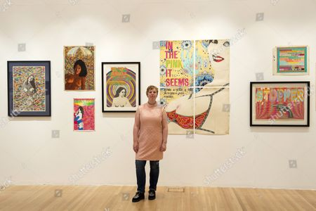 Jemima Dury with artwork produced by her father Ian Dury during his time at the Royal College of Art, 1963-66