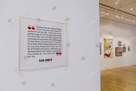Editorial picture of First solo exhibition of artworks by late singer Ian Dury, photocall, Royal College of Art, London, Britain - 22 Jul 2013