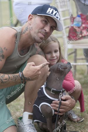 Terry Coldwell with daughter and Mugly the dog