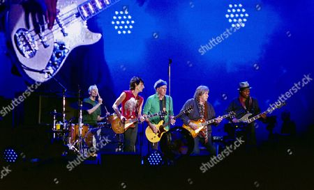 The Rolling Stones in concert, Hyde Park, London, Britain - Charlie Watts, Ronnie Wood, Keith Richards, Mick Taylor, Darryl Jones
