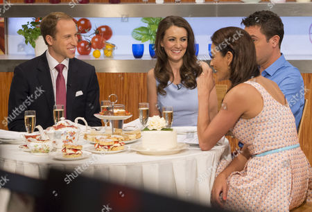 William and Kate - Look-a-likes Simon Watkinson and Heidi Agan with Presenters Gino D'Acampo and Melanie Sykes